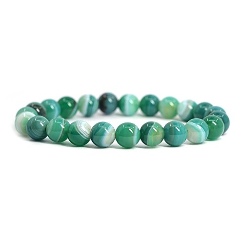Green Banded Agate Gemstone 8mm Round Beads Stretch Bracelet 7