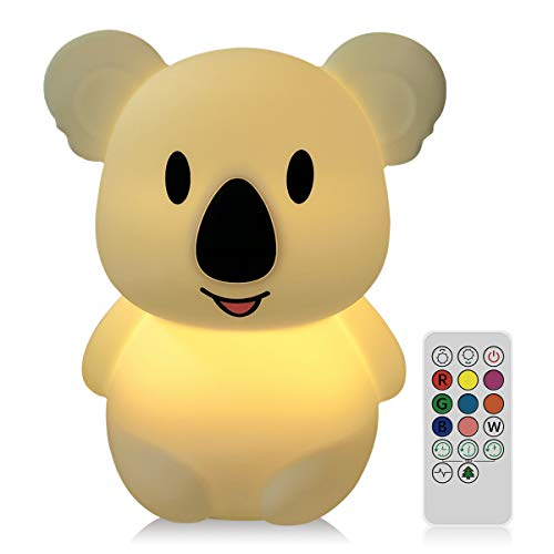 WOBEECO LED Children Night Light Kids Multicolor Silicone Baby Lamp,3 Different Modes and 8 Changing Colors Baby Night Light with Touch Sensor Remote Control Rechargeable