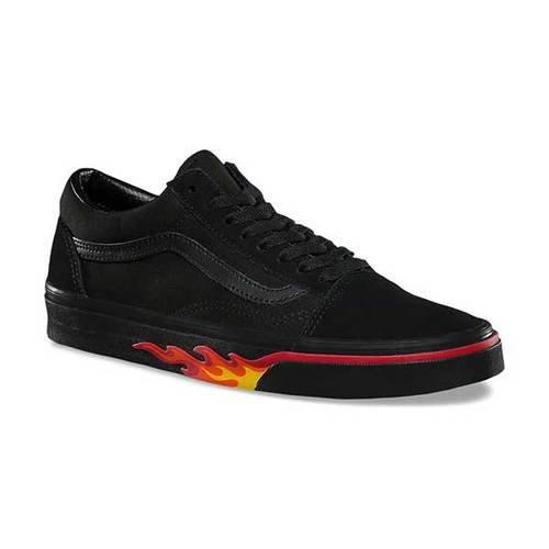 Vans Old Skool Damen Sneaker Pink (Flame Wall) Black/Black