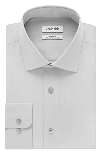 Calvin Klein Men's Regular Fit Non Iron Herringbone Spread Collar Dress Shirt, Smoke, 16.5