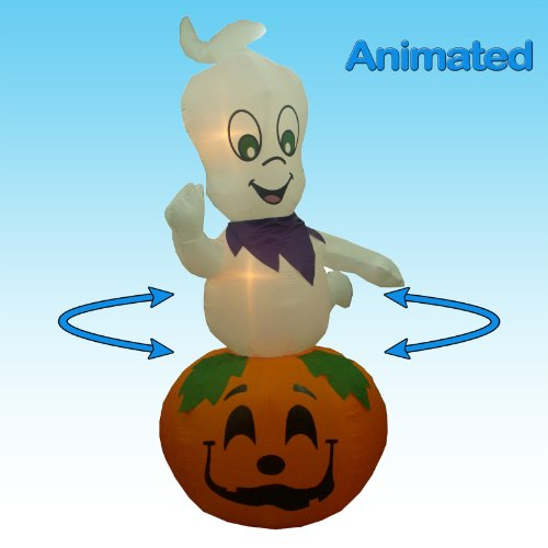 Jumbo 9 Foot Animated Halloween Inflatable Ghost on Pumpkin - 2012 Yard (Halloween Inflatables)