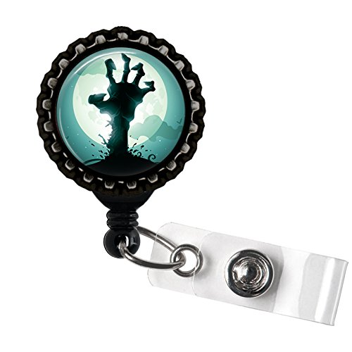 Zombie Hand Teal Black Retractable ID Tag Badge Reel