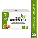 GANOHERB USDA Organic Green Tea Bags with Reishi Mushroom Extract,Herbal Instant Tea