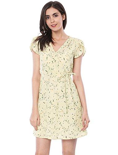 Allegra K Women's Boho Crossover V Neck Petal Sleeves Belted Floral Flowy Dress Beige XS (US 2)
