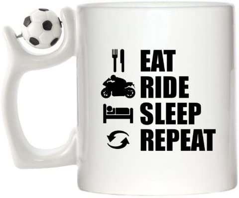 Eat Sleep Ride Repeat – Motorbikes diseño taza con asa de fútbol ...