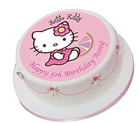 Hello Kitty Pink Personalized Cake Topper Icing Sugar Paper 75