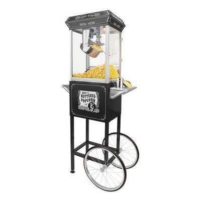 FunTime Sideshow Popper 8-Ounce Hot Oil Popcorn Machine with Cart, Black/Gold
