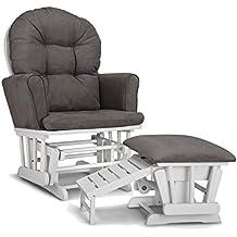 Graco Parker Semi-Upholstered Glider and Nursing Ottoman, White/Gray