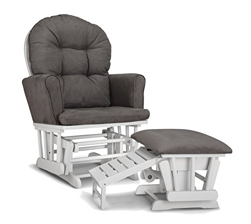 (Graco Parker Semi-Upholstered Glider and Nursing Ottoman, White/Gray Cleanable Upholstered Comfort Rocking Nursery Chair with Ottoman)