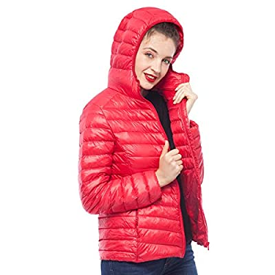 Rokka&Rolla Women's Ultra Lightweight Hooded Packable Puffer Down Jacket: Clothing