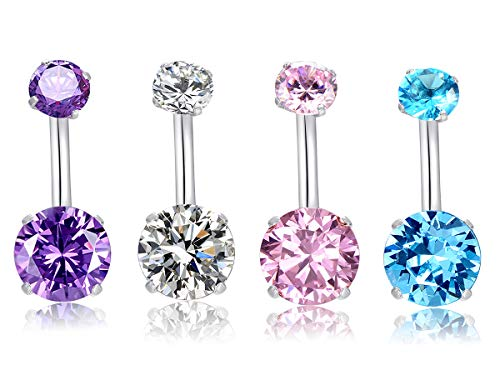 HQLA 14G Belly Button Rings Surgical Stainless Steel Round Cubic Zirconia Navel Barbell Stud Body Piercing (4Pcs(Clear+Pink+Purple+Blue)) Bottom Gem Belly Navel Rings