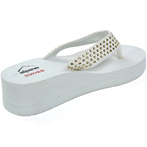 Flop Womens Gold Flip swiss Sandals Wedge alpine Off white Heel Rhinestone gYf5Wwq
