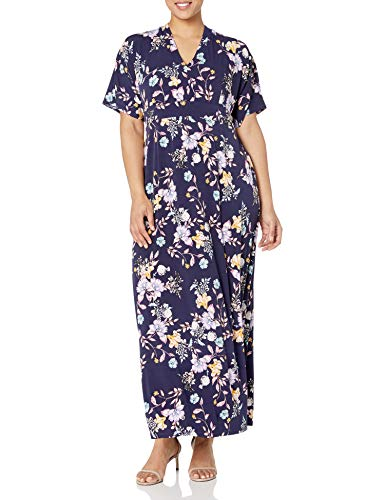 Donna Morgan Women's Plus Size Stretch Knit Jersey Printed V-Neck Maxi Dress, Navy/Lilac, 18W