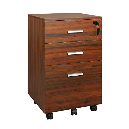 DEVAISE 3 Drawer Mobile File Cabinet with Lock, Wood Filing Cabinet for A4 or Letter Size, Fully Assembled Except Handles and Wheels, Walnut