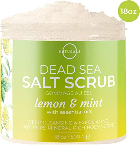 Mint Salt Scrub - O Naturals Exfoliating Lemon & Mint Dead Sea Salt Face & Body Scrub. Deep-Cleansing, Refreshes, Tones & Treats Oily Skin, Acne, Cellulite. Anti-Aging. Essential Oils, Sweet Almond & Argan. 18 Oz