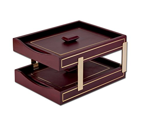 Dacasso 24Kt Gold Tooled Double Letter Trays with Lids, Burgundy (A5620)