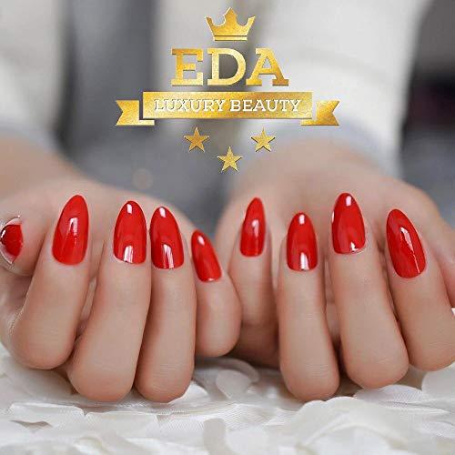 EDA LUXURY BEAUTY RED GLAMOROUS DESIGN Full Cover Press On Gel Glitter Artificial Tips Shiny Acrylic Elegant False Nails Extra Long Oval Round Pointy Ballerina Almond Stiletto Super Fashion Fake Nails