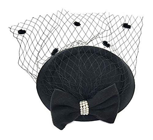 - Women's Fascinators Hat Pillbox Hat Cocktail Party Hat with Dot Veil Bowknot Hair Clip (Z Black)