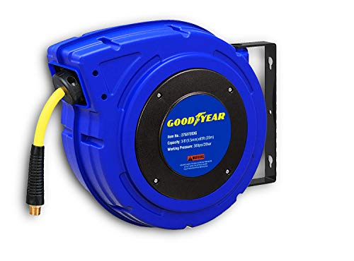 GOODYEAR Air-Hose-Reel Retractable 3/8 Inch x 65 Feet Premium Commercial Flex Hybrid Polymer Hose Max 300 Psi Heavy Duty Spring Driven Polypropylene Construction w/Lead in Hose & PVC Handle