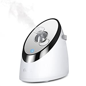 Ovonni Facial Steamer Nano Ionic Warm Mist Sprayer Humidifier, Portable Hot Mist Moisturizing Face Personal Sauna SPA Unclogs Pore Blackheads Acne Skin Cares Atomizer, with Mirror, Adjustable Nozzle