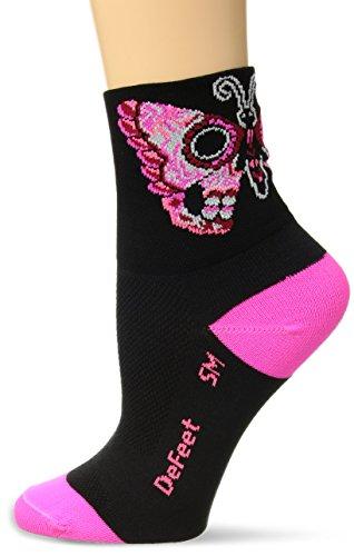 Defeet AIRSFPN101 Sugar Fly Socks, Small, Black/Pink (Defeet Pink Running Socks)