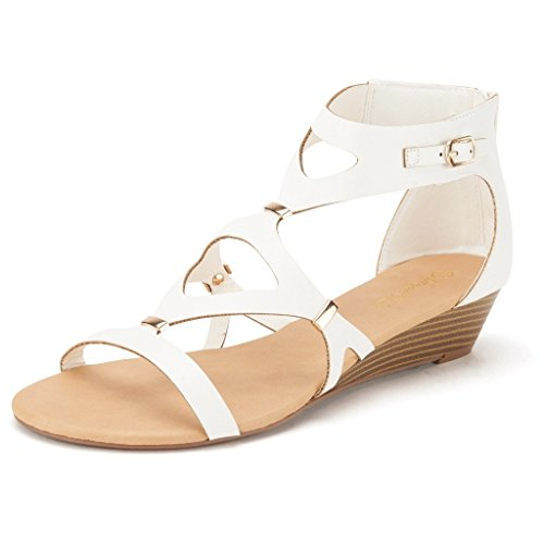DREAM PAIRS VEENUS Women's Summer Cutout Low Heel Ankle/Zipper Side Buckle Gladiator Inspired Flat Sandals WHITE SIZE 5.5