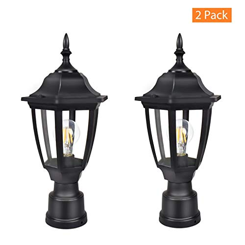 FUDESY 2-Pack LED Outdoor Post Light Fixtures,Plastic Black Post Lanterns with 12W 1200LM Edison Filament Bulb(Corded-Electric), FDS2543B ()