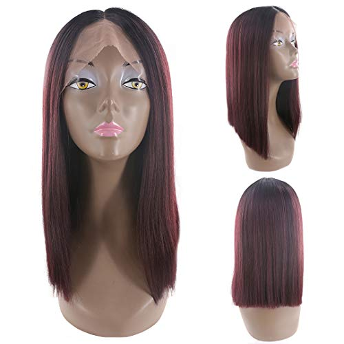 Burgundy Synthetic Fiber - Buladou Hair Natural Looking Yaki Straight Synthetic Bob Lace Front Wigs with Dark Roots Medium Length Ombre Bob Heat Resistant Fiber Wigs for Women 14inch (1B/RED)