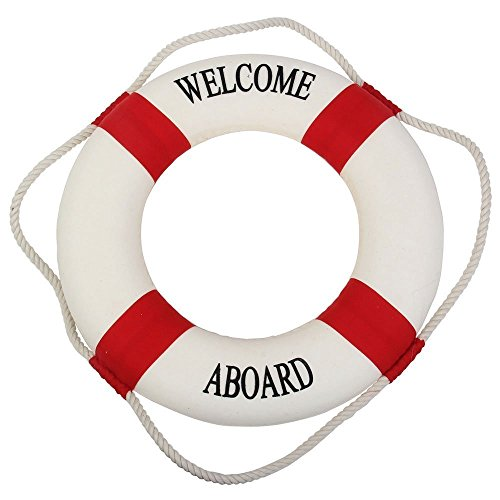 (Decor Welcome - Decorative Welcome Aboard Nautical Lifebuoy Ring Wall Hanging Home Decoration Red 45cm - Decor Welcome Decorative Home Wind Chimes Hanging Decorations Lifebuoy Ring Touch )