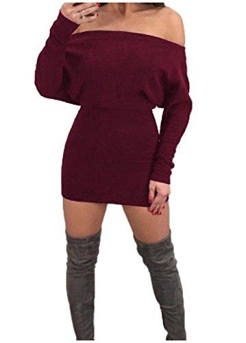 Coolred-femmes Confortables À Manches Longues Solide Sexy Hors Épaule Silm Ajustement Robe Vin Rouge