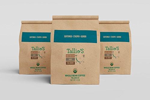 Tallio Whole Bean Coffee Blend, Medium Espresso Roast, Guatemala - Ethiopia - Uganda Coffee Beans (12 oz Whole Bean)