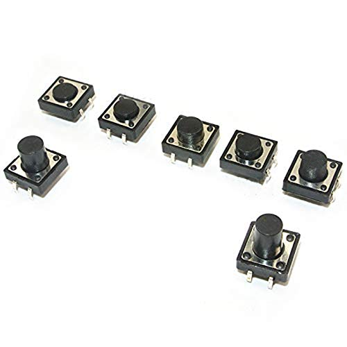 Magic&shell 70pcs 7 Value Tact Switch DIP 4PIN ON/Off Horizontal Tactile Push Button Micro Touch Switch Kit 12x12 Series 12x12x4.3/5/6/7/8/9/10mm (Micro Touch Switch)