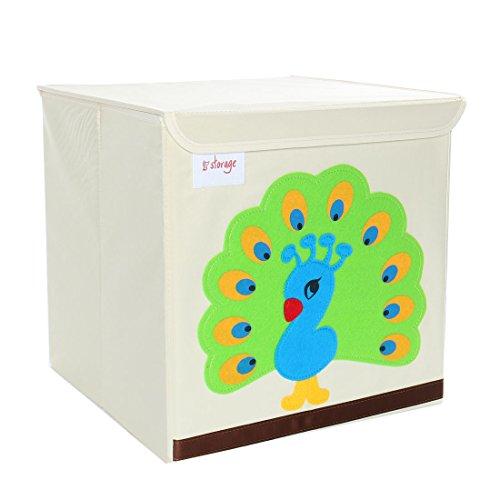 (PICCOCASA Foldable Toy Storage Bins Square Cartoon Animal Storage Box Eco-Friendly Fabric Storage Cubes Organizer for Bedroom Playroom Lid Green Peacock 13
