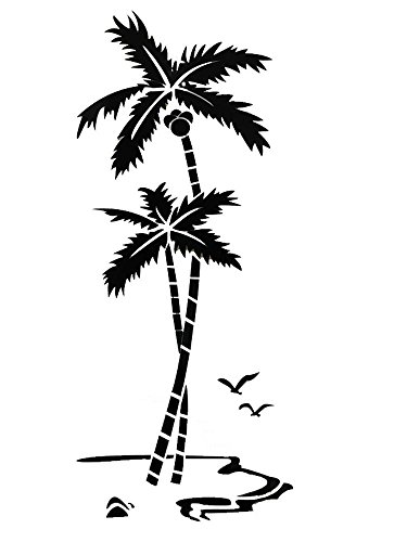 OOFYHOME Wall Sticker 3D Acrylic Stereo Wall Sticker Bedroom Wall Decoration Living Room Wall Sticker Home Decoration Coconut Tree Wall sticker , super big , black by OOFYHOME