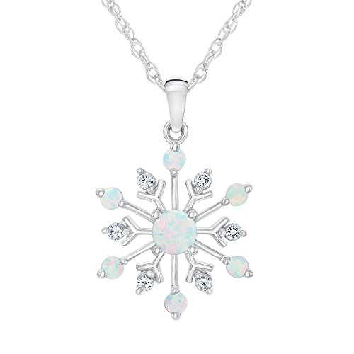 Created Opal and Created White Sapphire Snowflake Pendant