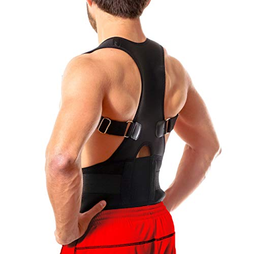 Back Brace Posture Corrector - Best Fully Adjustable Support Brace - Improves Posture and Provides Lumbar Support - for Lower and Upper Back Pain - Men and Women (L (30' - 35' Waist))