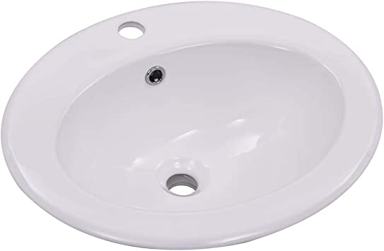 vidaXL Lavandino Bagno in Ceramica con Foro di Scarico Bianco