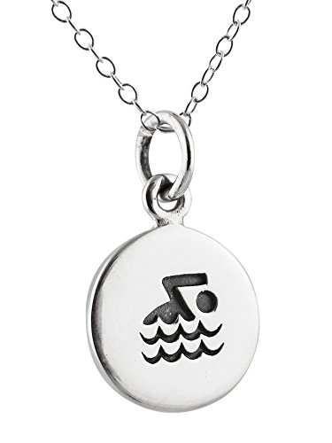 (Sterling Silver Tiny Etched Swimmer Tag Charm Pendant Necklace, 18 Inch)