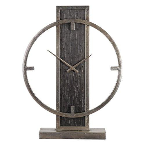 Mid Century Modern Bronze Silver Desk Clock | Retro Vintage Table ()
