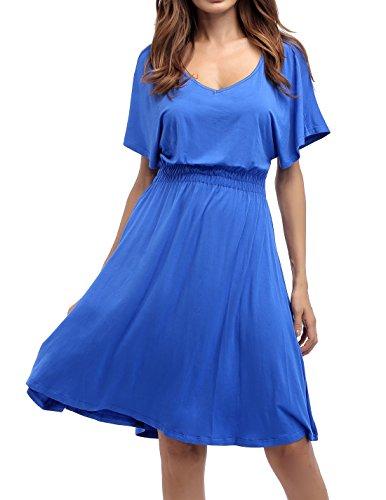 Sarin Mathews Womens Sexy V Neck Cap Sleeve Summer Casual Flared Midi Dress RoyalBlue L from Sarin Mathews