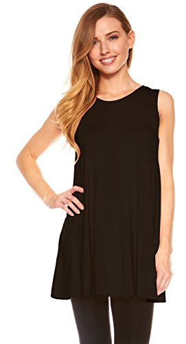 Womens Sleeveless A-Line Tank Top Tunic, Solid Basic Long Flowy Top (Black-XL) (Tunic Womens Long)