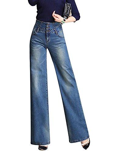 Premium Denim Flare Jeans - Gooket Women's High Waist Wide Leg Denim Flare Jeans Palazzo Jeans Long Pants Blue Tag 31-US 4-6