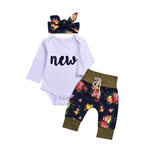 Gotd Toddler Infant Baby Girl Boy Clothes Winter Long Sleeve Floral Romper+Pants+Headband Christmas Autumn Outfits Gifts (12-18 Months, White)