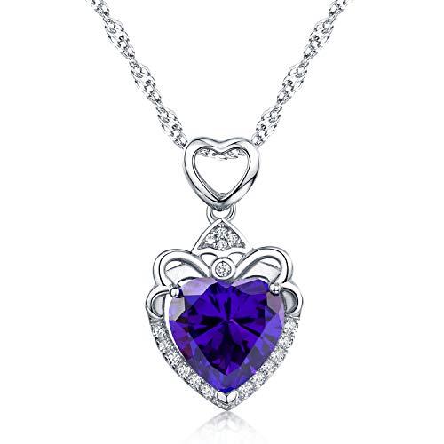 BOOSCA Fine Jewelry for Women 925 Sterling Sliver Heart Shape Cubic Zirconia Pendant Necklace