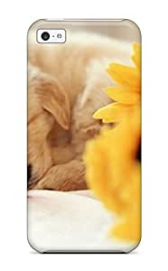 For Iphone 5c Premium Tpu Case Cover Sleeping Puppy Cute Dog Yellow Flowers Animal Dog Protective Case