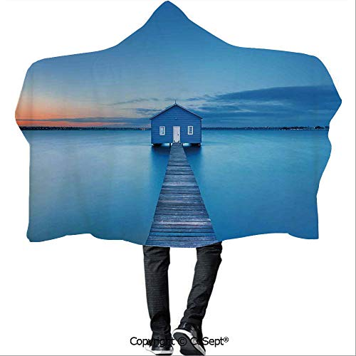 - SCOCICI Wearable Hooded Blanket,Sunrise Over Water Lakehouse Cabin Boardwalk Sunlight Clouds Horizon Nature,Camping Indoor Outdoor Travel(59.05x51.18 inch),Blue Orange Gray