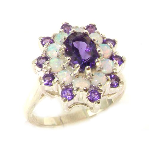925 Sterling Silver Natural Amethyst and Opal Womens Cluster Ring - Sizes 4 to 12 Available