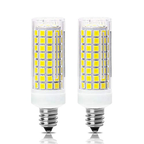 All-New-(102LEDs) E11 Led Bulbs, 80W or 100W Equivalent Halogen Replacement Lights, Dimmable, Mini Candelabra Base, 850 LM,Daylight White 6000K, AC110V/ 120V/ 130V, Replaces T4 /T3 JD e11,Pack of 2