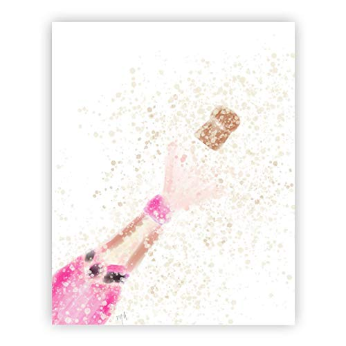 (Pink Champagne Print Art Chic Gold Office Decor Bar Cart Print Gallery Wall Celebration Accessories Engagement)
