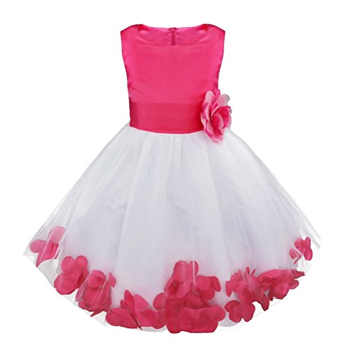 iEFiEL Girls Kids Wedding Party Darling Petals Bowknot Flower Dress Rose 12